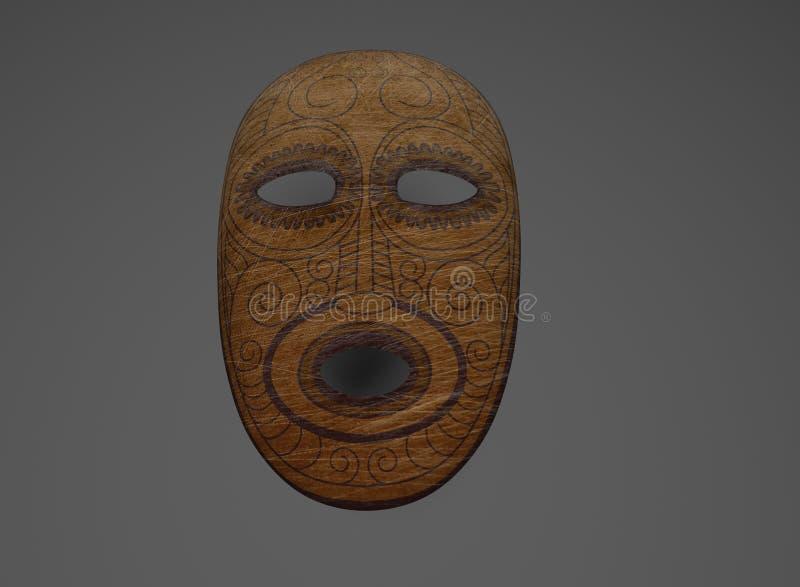 Máscara de madeira antiga com teste padrão e riscos ilustração stock