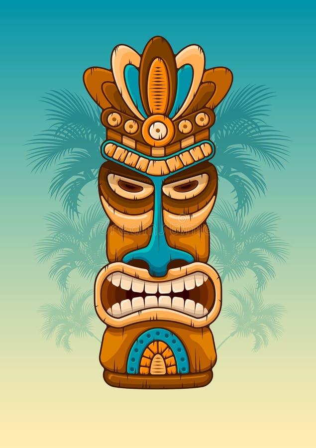 Máscara de madeira de Tiki ilustração royalty free