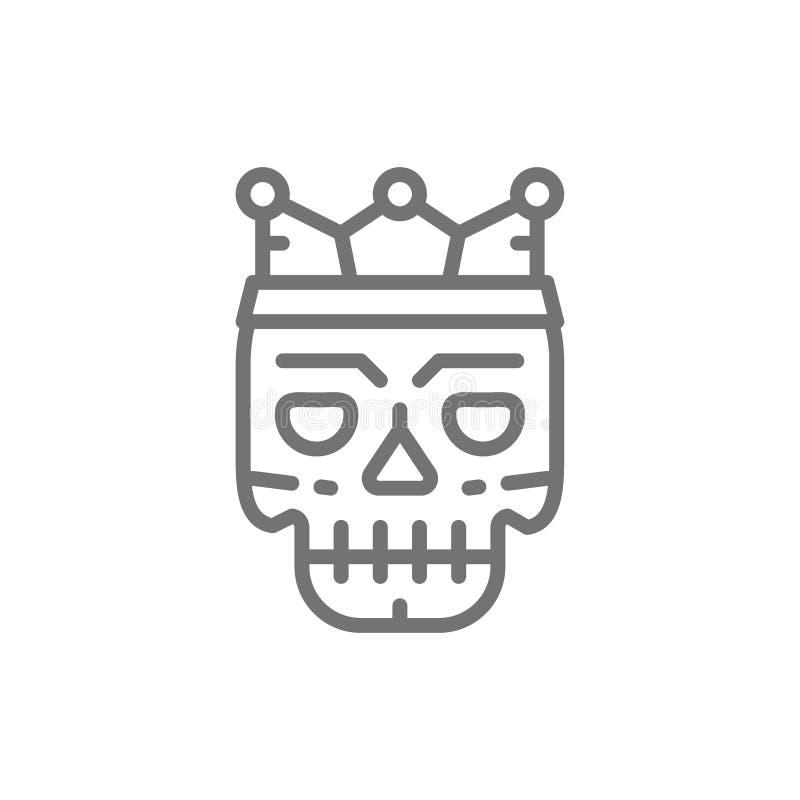 Máscara de muerte, línea icono del bosquejo del tatuaje stock de ilustración
