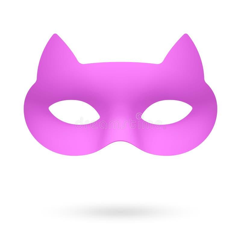Máscara de ojo de la mascarada del gato de Rose ilustración del vector