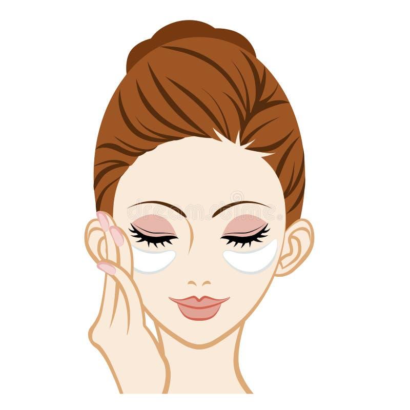 Máscara de olho do gel --Close-up facial ilustração stock