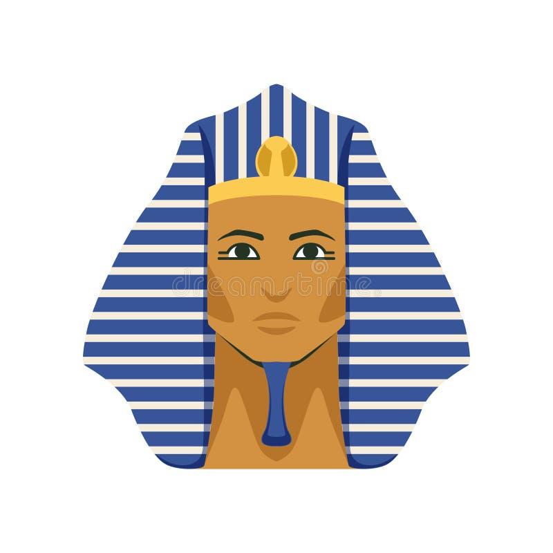 Máscara de oro egipcia del faraón de Tutankhamen, símbolo del ejemplo del vector de Egipto antiguo stock de ilustración