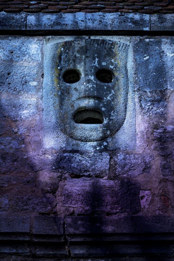 Máscara de pedra de Historc fotografia de stock