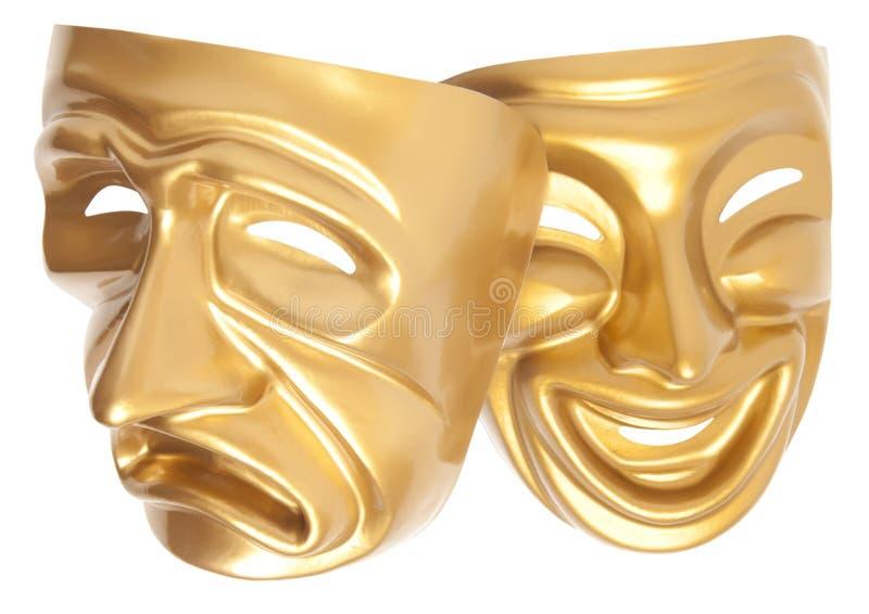 Máscara de teatro de la comedia y de la tragedia imagenes de archivo