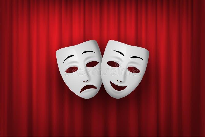 Máscara de teatro de la comedia y de la tragedia aislada en un fondo rojo de la cortina Ilustraci?n del vector stock de ilustración
