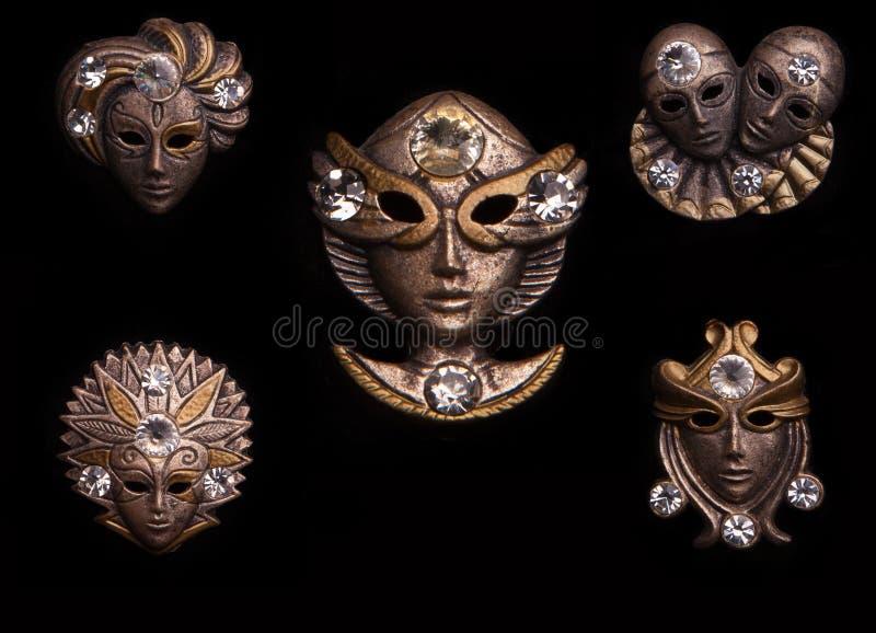 Máscara del carnaval de Venecia en fondo negro fotos de archivo