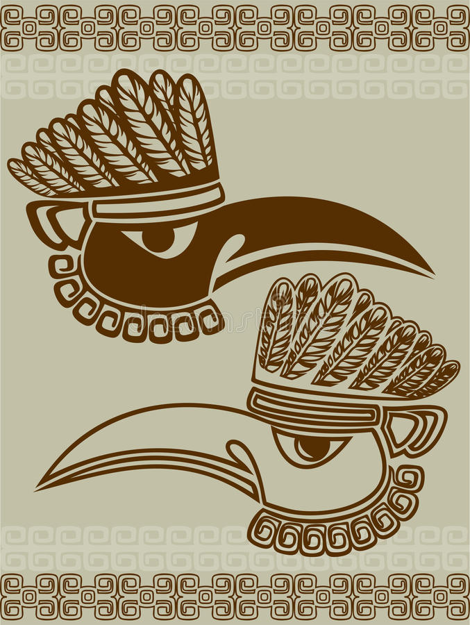 Máscara del cuervo del nativo americano stock de ilustración