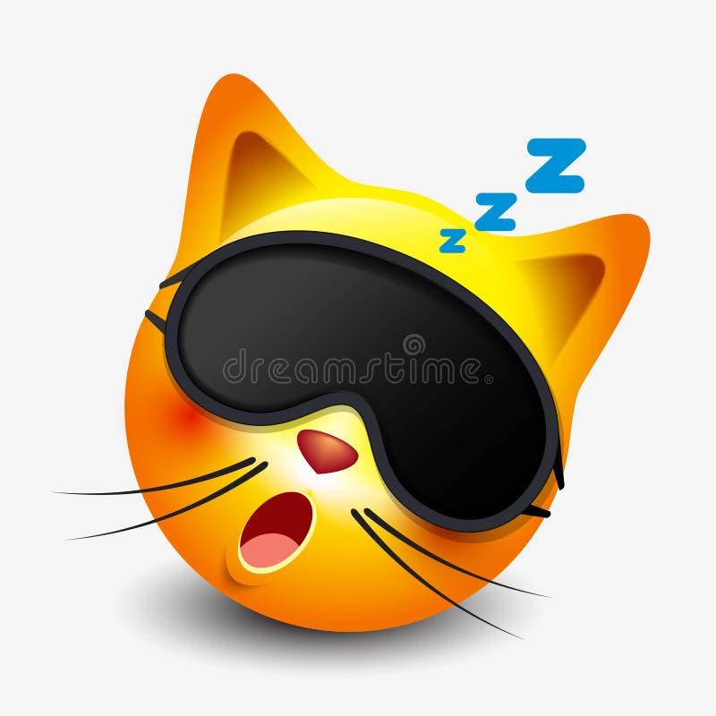 Máscara del sueño el dormir que lleva del emoticon lindo del gato, emoji, smiley - vector el ejemplo ilustración del vector