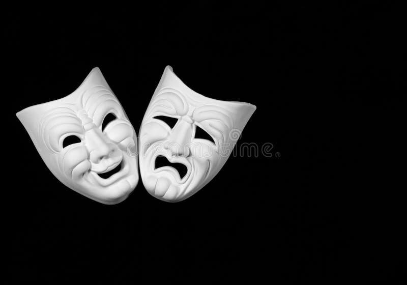Máscara del teatro de la comedia y de la tragedia imágenes de archivo libres de regalías