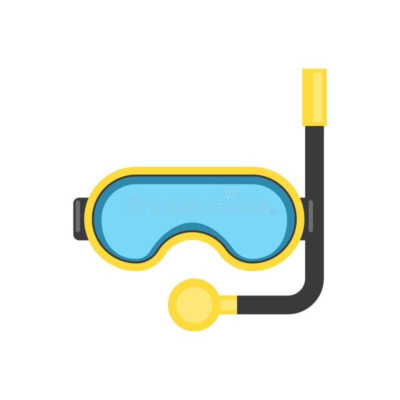 Máscara del tubo respirador - equipo para zambullirse o relajarse en el mar - actividades al aire libre - ejemplo plano del vecto libre illustration