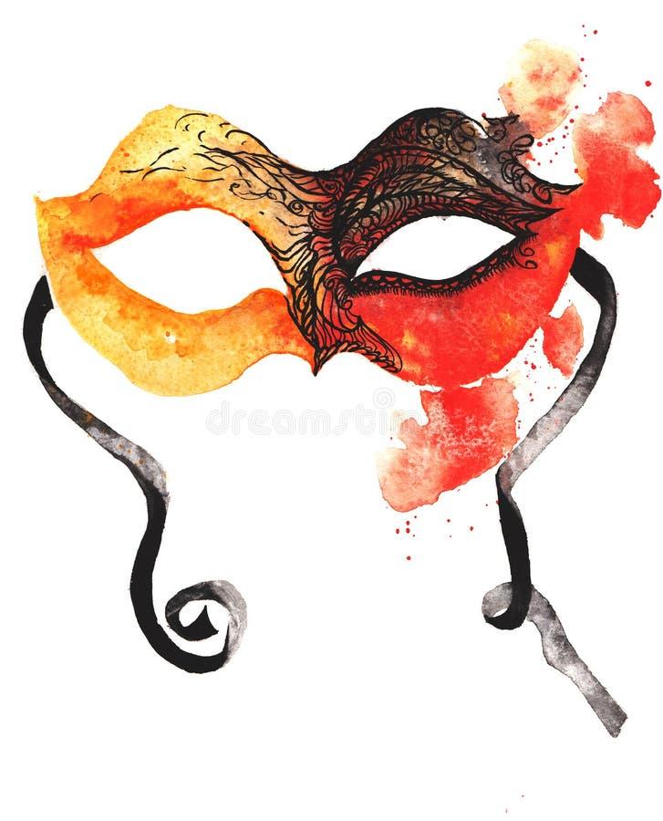 Máscara desenhado à mão do carnaval da aquarela, laranja-vermelho, coberta com fotografia de stock