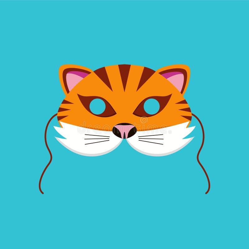 Máscara do animal do tigre para crianças aniversário ou ilustrações do vetor do partido do traje ilustração royalty free