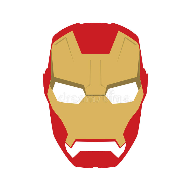 Máscara do caráter da cara do super-herói no molde liso do projeto Dourado e vermelho ilustração stock