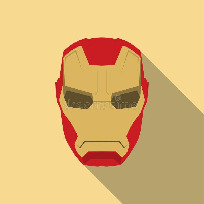 Máscara do caráter da cara do super-herói no molde liso do projeto Dourado e vermelho ilustração royalty free
