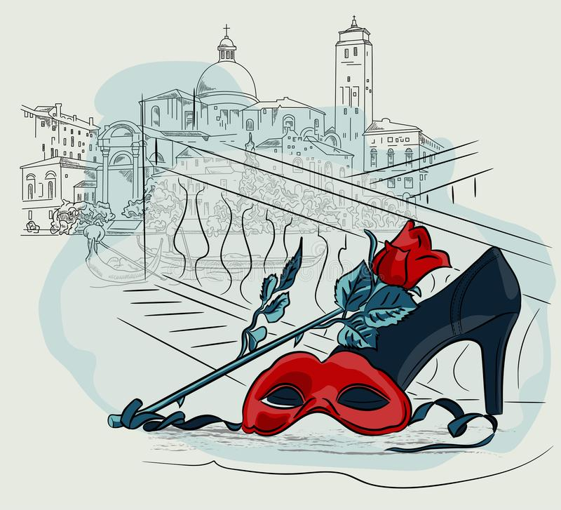Máscara do carnaval com uma flor da rosa na perspectiva das casas de Veneza Vetor que tira a ilustração a mão livre ilustração do vetor