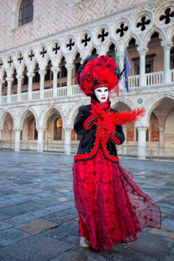 Máscara do carnaval contra o palácio do doge em Veneza, Itália imagem de stock