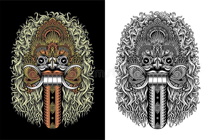 Máscara do demônio do Balinese ilustração do vetor