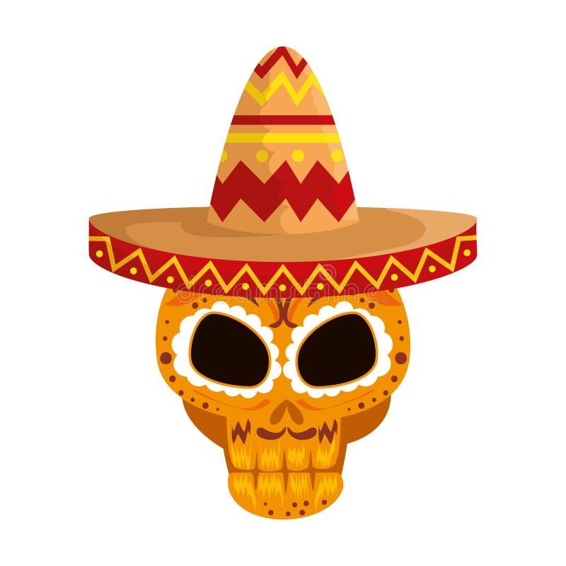 Máscara do dia da morte com chapéu do mariachi ilustração royalty free