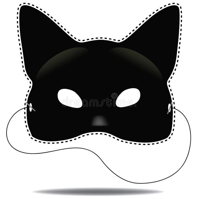 Máscara do gato preto no branco ilustração royalty free