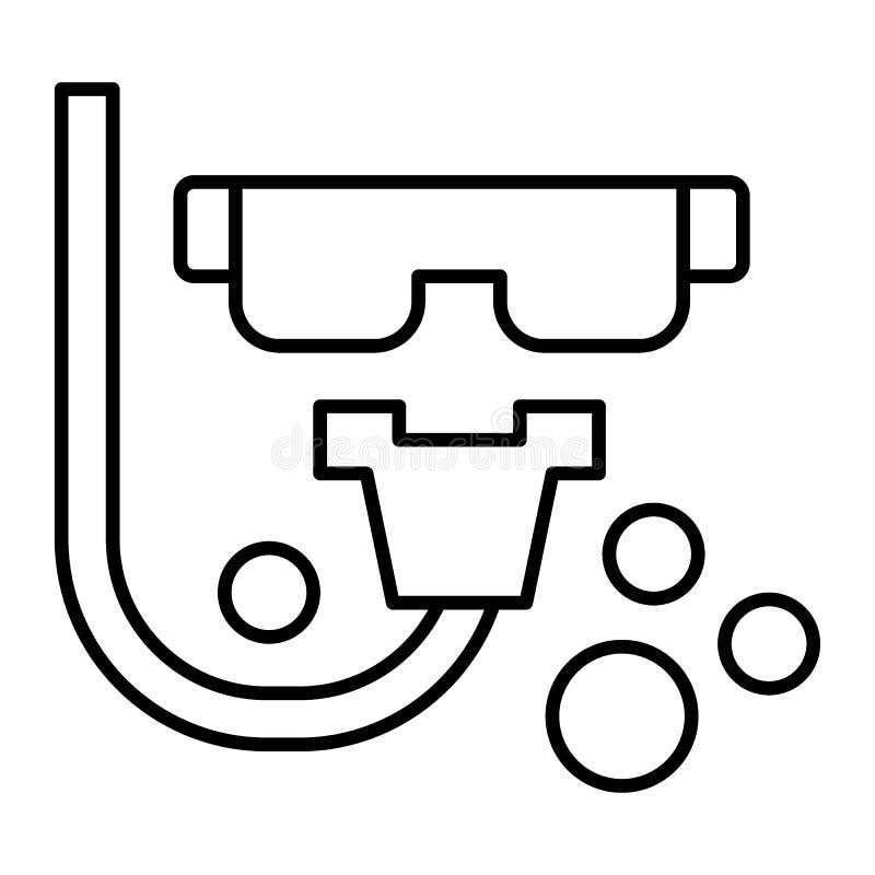 Máscara do mergulhador e linha fina ícone do tubo Ilustração do vetor do mergulho isolada no branco Projeto do estilo do esboço d ilustração do vetor