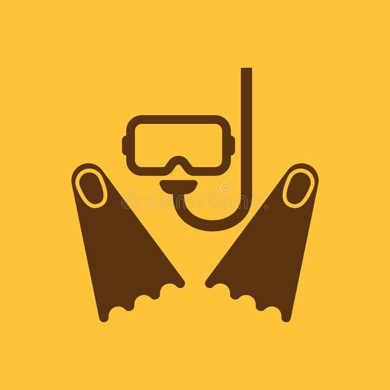 A máscara do mergulhador e o ícone das aletas Símbolo do mergulho liso ilustração royalty free