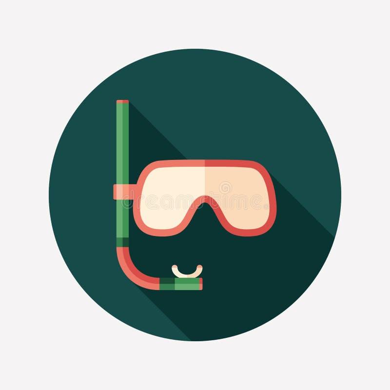 Máscara do mergulho com ícone redondo liso do tubo de respiração com sombras longas ilustração royalty free