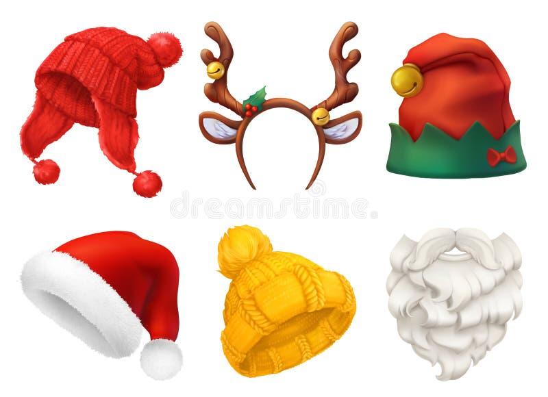 Máscara do Natal, chapéu de Santa Claus, chapéu feito malha grupo realístico do ícone do vetor 3d ilustração royalty free