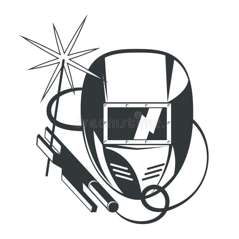 Máscara do soldador e máquina de soldadura ilustração royalty free