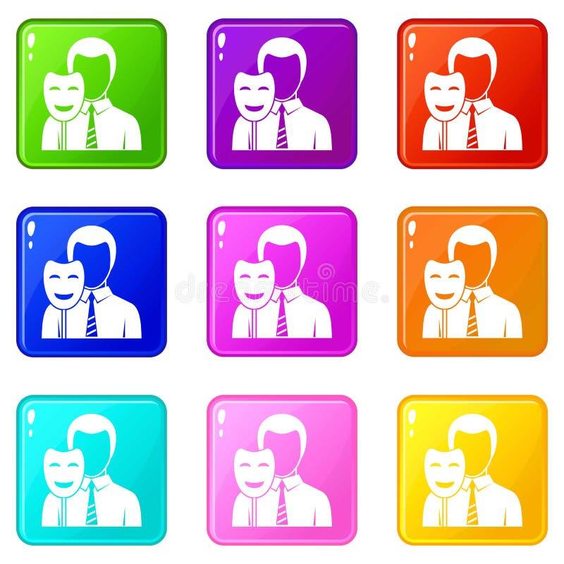 A máscara do sorriso da terra arrendada do homem de negócios ajustou 9 ilustração royalty free