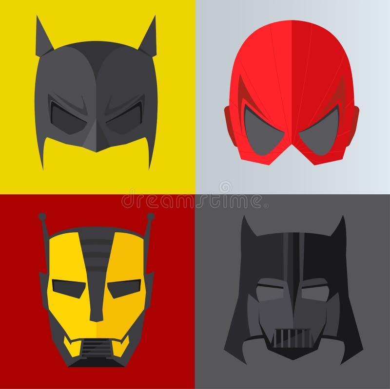 Máscara do super-herói em fundos coloridos ilustração do vetor