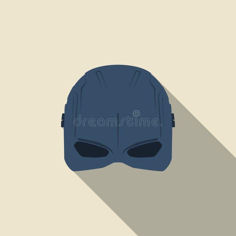 Máscara do super-herói em um projeto liso Cor azul Ilustração do vetor ilustração royalty free