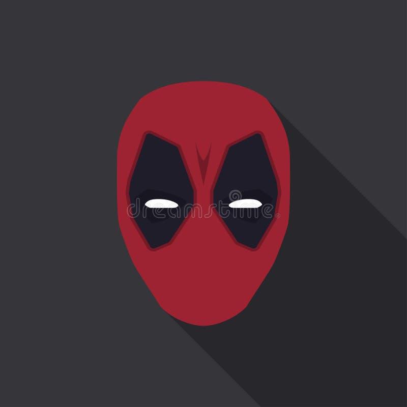 Máscara do super-herói em um projeto liso Cor vermelha Ilustração do vetor ilustração royalty free