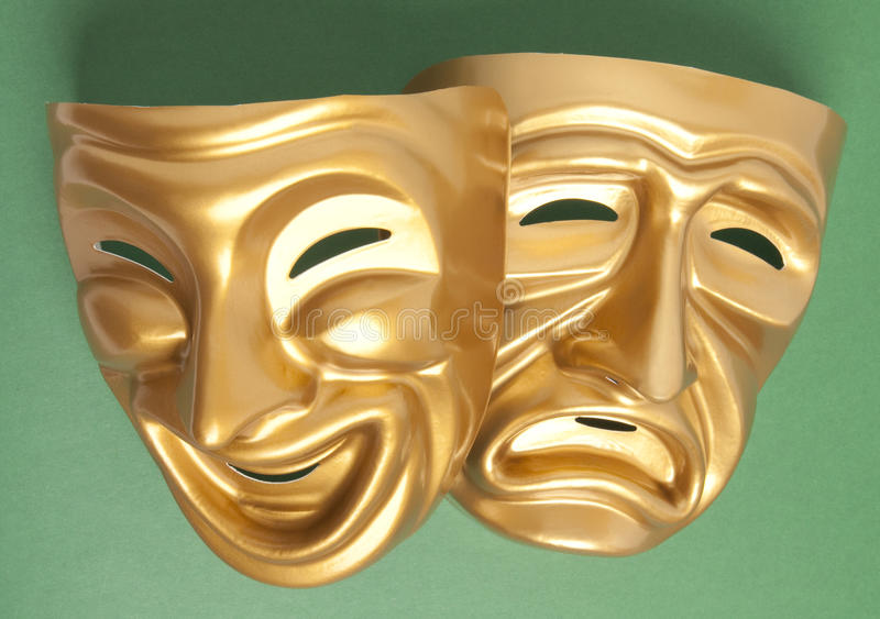 Máscara do teatro da comédia e da tragédia foto de stock