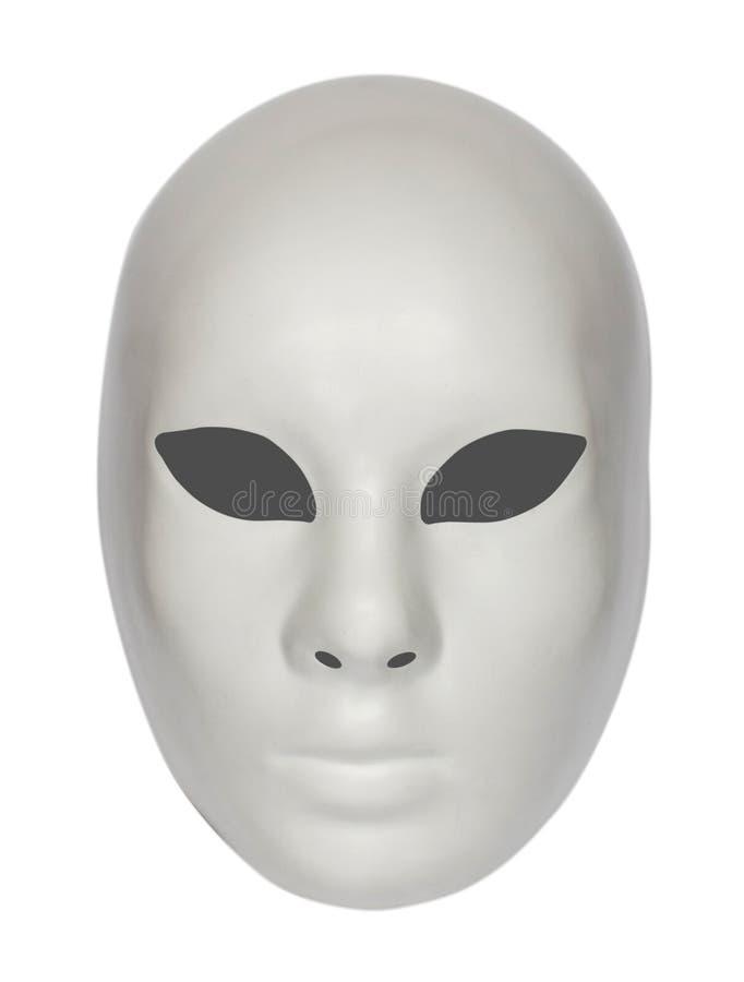 Máscara dramática blanca del teatro aislada en blanco imagen de archivo