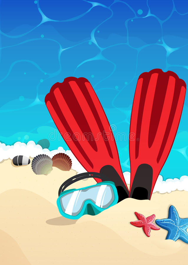 Máscara e aletas na praia ilustração stock