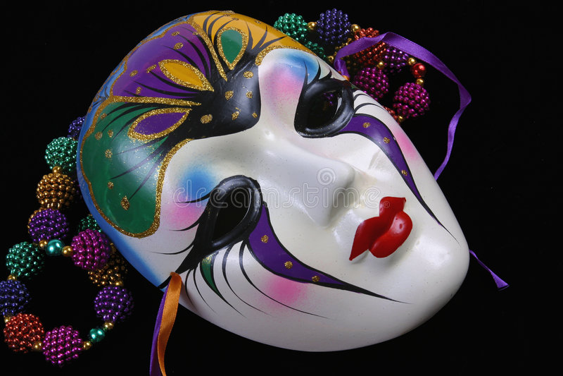 Máscara e grânulos do carnaval foto de stock royalty free
