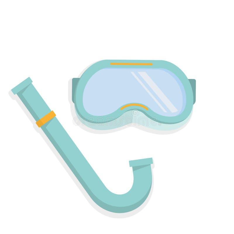 Máscara e tubo de respiração do mergulhador ilustração do vetor