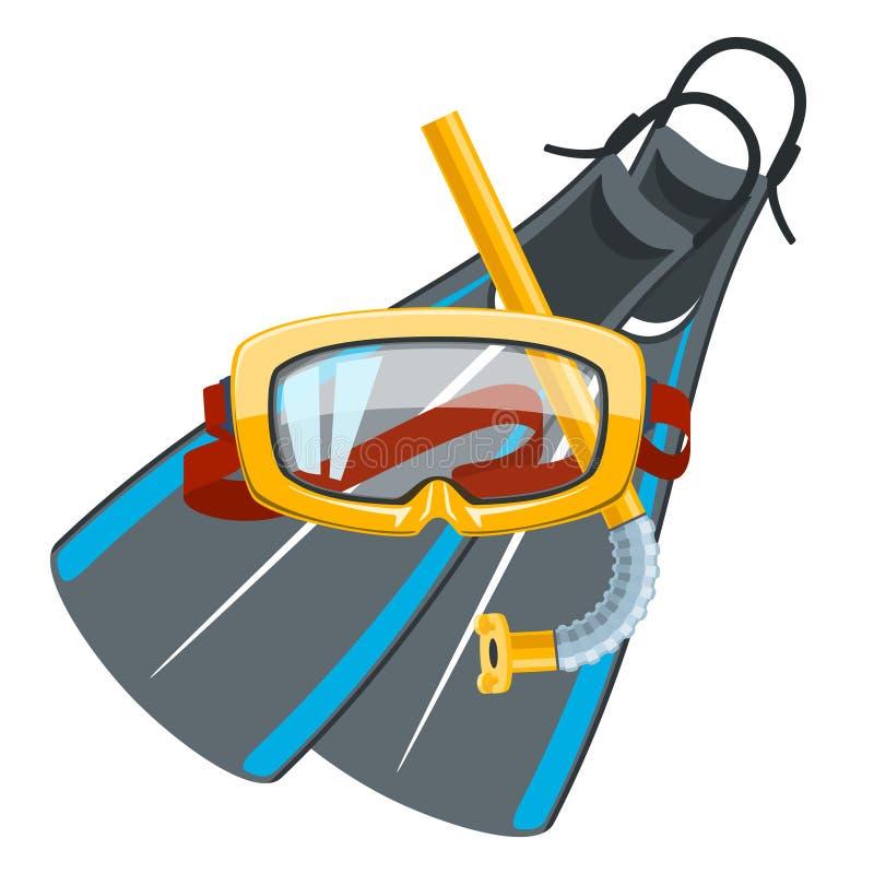Máscara e tubo de respiração do mergulho com aletas ilustração stock