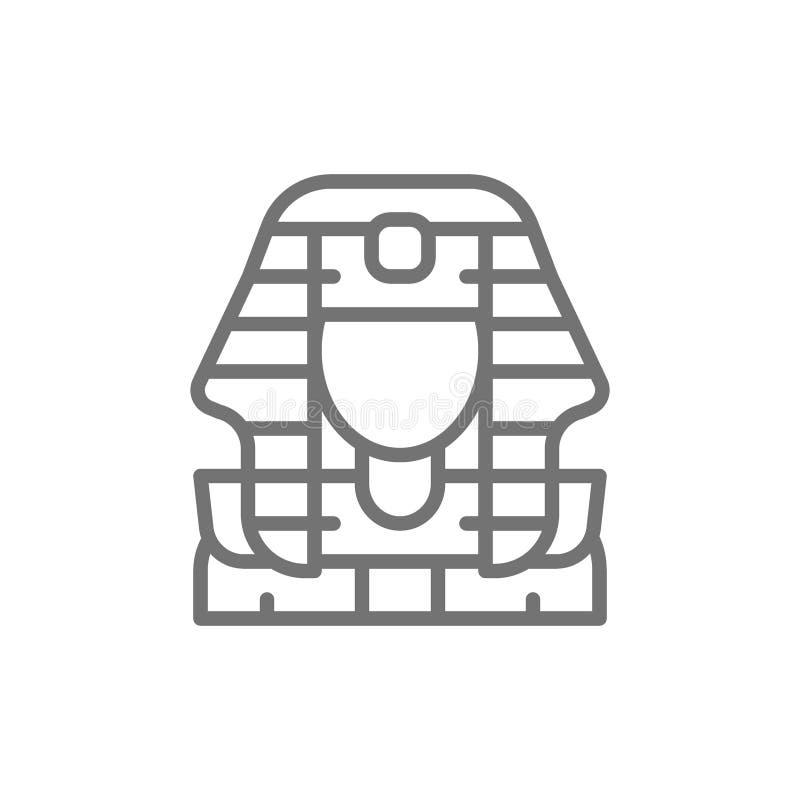 Máscara egipcia de los pharaohs, línea icono de Tutankhamun ilustración del vector