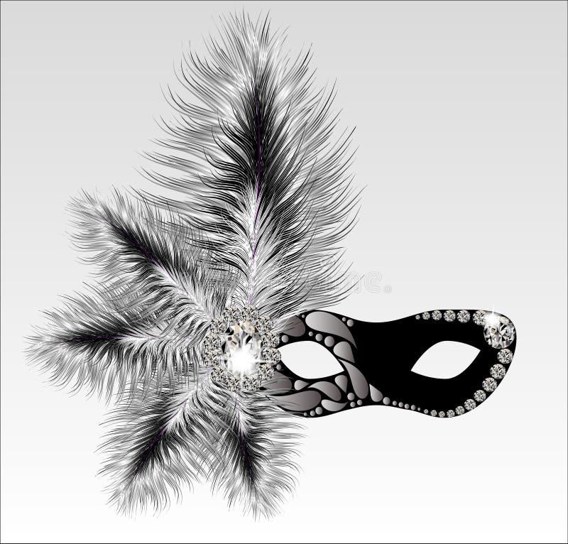 Máscara elegante del carnaval con las plumas hermosas stock de ilustración