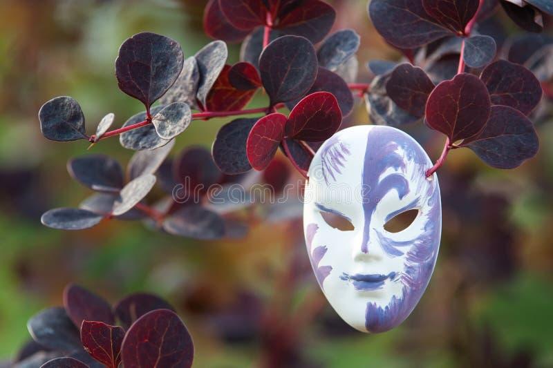 Máscara em um fundo natural, o conceito nós todos vestimos máscaras imagem de stock royalty free