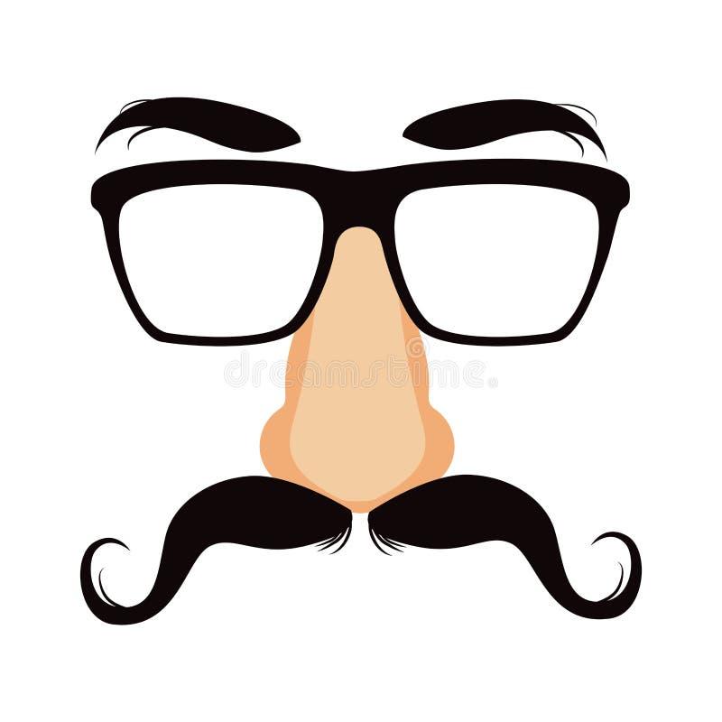 Máscara engraçada do disfarce do bigode ilustração do vetor