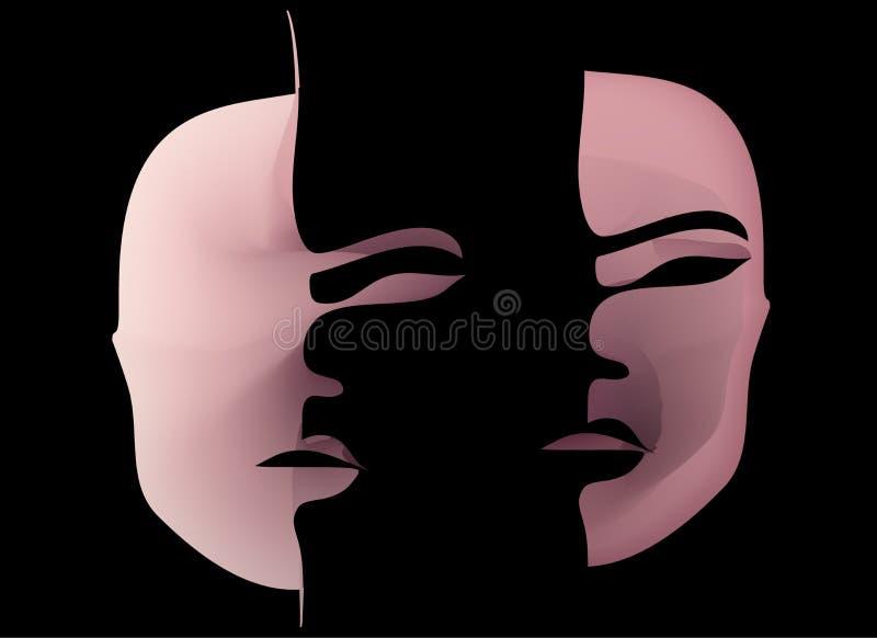 Máscara espantosa de la cara terrible de la sangre cosas terribles en Halloween stock de ilustración