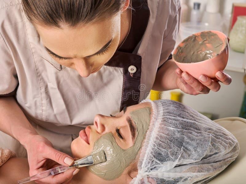 Máscara facial da lama da mulher no salão de beleza dos termas Massagem de cara fotografia de stock royalty free