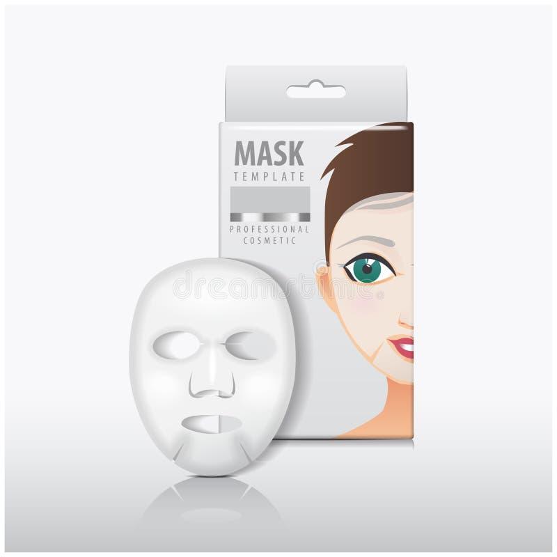 Máscara facial de la hoja con la caja del Libro Blanco Mofa del vector encima de la plantilla Paquete del producto de belleza ilustración del vector