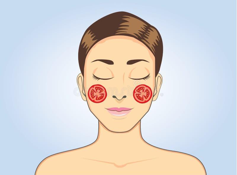 Máscara facial del tomate mientras que duerme stock de ilustración
