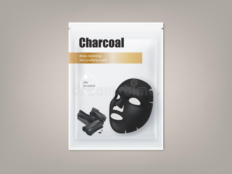 Máscara facial negra del carbón de leña, diseño de paquete del vector ilustración del vector