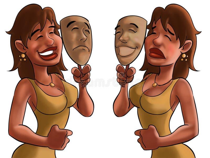 Máscara feliz, máscara triste ilustração stock