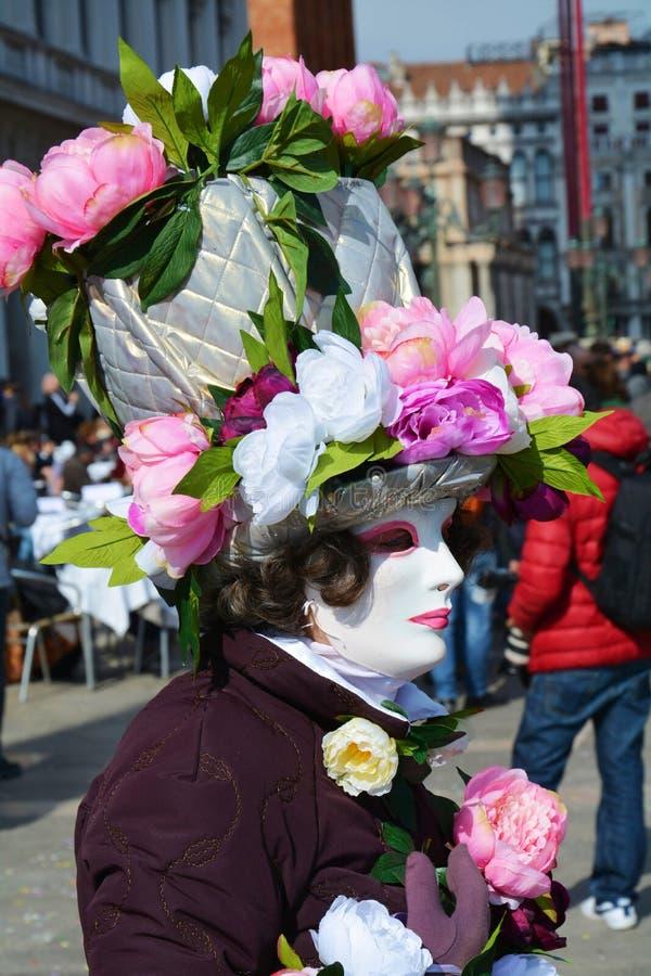 Máscara florida elegante, Venecia, Italia, Europa foto de archivo