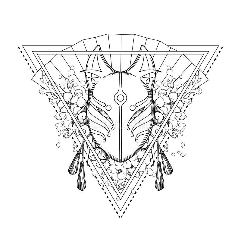 Máscara gráfica del zorro del demonio stock de ilustración